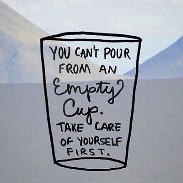 """Hand Drawn lettering """"You can't pour from an empty cup. Take care of yourself first."""""""